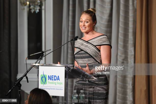 Iskra Lawrence speaks onstage at the 15th Annual Benefit Gala 'An Evening Unmasking Eating Disorders' hosted by The National Eating Disorder...