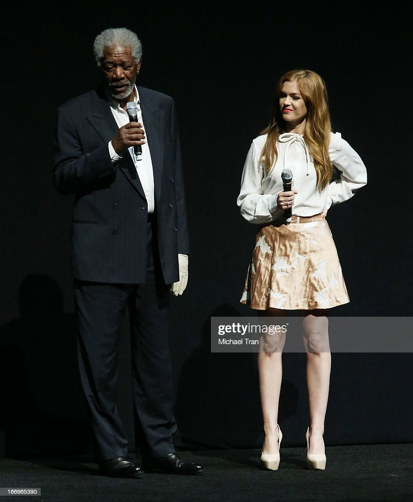 <a gi-track='captionPersonalityLinkClicked' href=/galleries/search?phrase=Isla+Fisher&family=editorial&specificpeople=220257 ng-click='$event.stopPropagation()'>Isla Fisher</a> and <a gi-track='captionPersonalityLinkClicked' href=/galleries/search?phrase=Morgan+Freeman&family=editorial&specificpeople=169833 ng-click='$event.stopPropagation()'>Morgan Freeman</a> (L) speak at a Lionsgate presentation to promote their upcoming film, 'Now You See Me' held at Caesars Palace during CinemaCon, the official convention of the National Association of Theatre Owners, on April 18, 2013 in Las Vegas, Nevada.