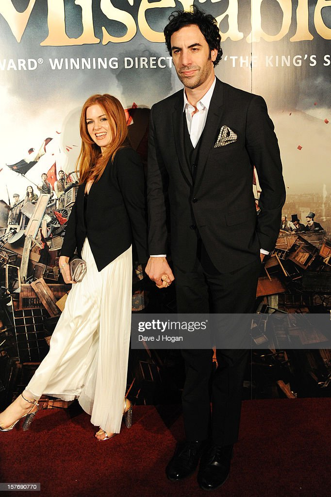 Isla Fisher and Sacha Baron Cohen attend the world premiere after party for Les Miserables at The Odeon Leicester Square on December 5, 2012 in London, England.