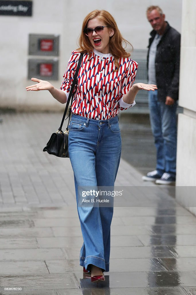 Isla Fisher seen leaving the BBC Radio 1 Studios on July 27 2016 in London England