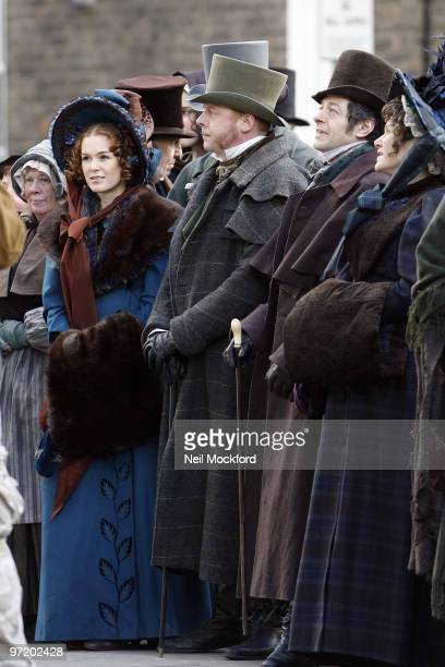 Isla Fisher Simon Pegg and Andy Serkis are sighted on set of 'Burke And Hare' on March 1 2010 in London England