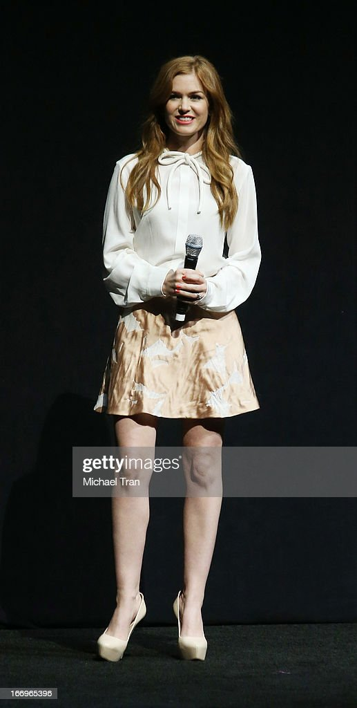 <a gi-track='captionPersonalityLinkClicked' href=/galleries/search?phrase=Isla+Fisher&family=editorial&specificpeople=220257 ng-click='$event.stopPropagation()'>Isla Fisher</a> speaks at a Lionsgate presentation to promote her upcoming film, 'Now You See Me' held at Caesars Palace during CinemaCon, the official convention of the National Association of Theatre Owners, on April 18, 2013 in Las Vegas, Nevada.