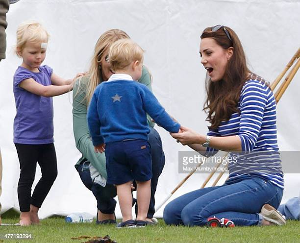 Isla Phillips Autumn Phillips Catherine Duchess of Cambridge and Prince George of Cambridge attend the Gigaset Charity Polo Match at the Beaufort...