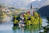 Island on Lake Bled and the alps.
