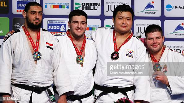Islam El Shehaby of Egypt Iakiv Khammo of the Ukraine SungMin Kim of South Korea and Barna Bor of Hungary pose with their medals for the Mens 100kg...