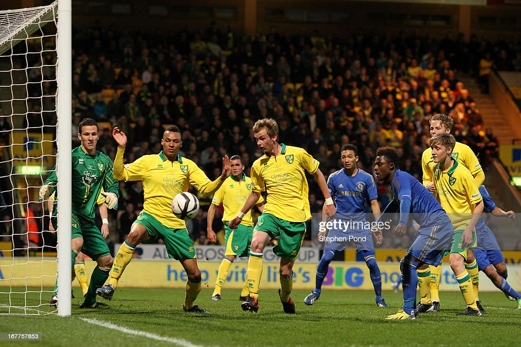 Islam Feruz of Chelsea heads towards goal during the FA Youth Cup Final First Leg match between Norwich City and Chelsea at Carrow Road on April 29, 2013 in Norwich, England.