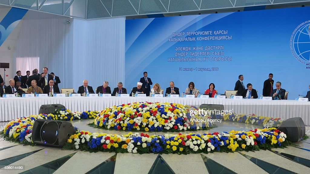 Islam, Jewish, Christian, Buddhism, Hinduism and Taoism representatives attend the Religions Against Terrorism International Conference in Astana, Kazakhstan on May 31, 2016.