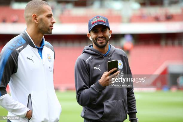 Islam Slimani and Riyad Mahrez of Leicester City at Emirates Stadium ahead of the Premier League match between Arsenal and Leicester City at Emirates...