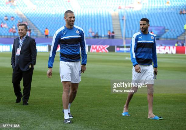 Islam Slimani and Riyad Mahrez of Leicester City at Vicente Calderonn Stadium ahead of the Champions League quarter final first leg between Club...