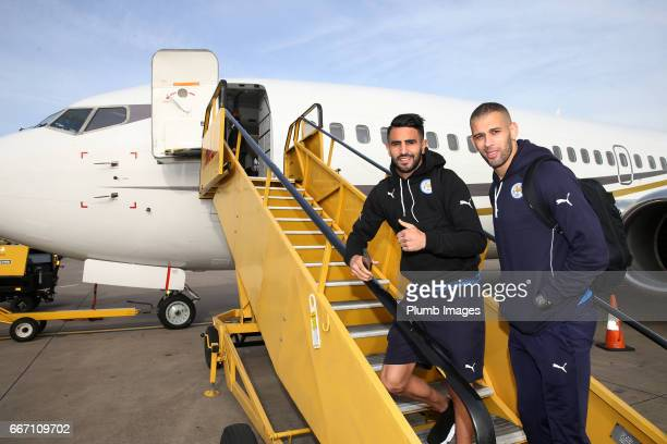 Islam Slimani and Riyad Mahrez of Leicester City board the plane from East Midlands Airport to Madrid for the Champions League Quarter Final on April...
