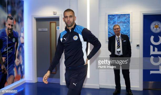 Islam Slimani arrives ahead of the Premier League match between Leicester City and Watford at King Power Stadium on May 06 2017 in Leicester United...