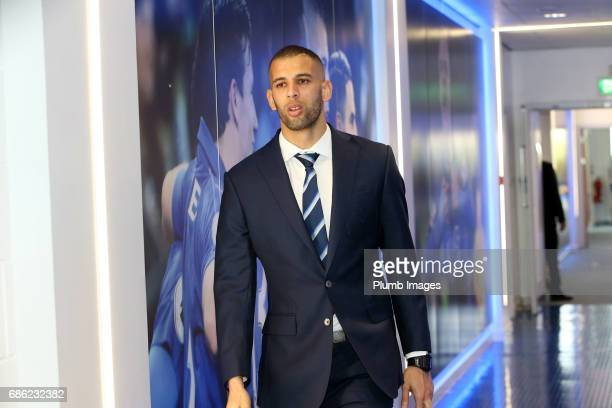 Islam Slimani arrives ahead of the Premier League match between Leicester City and Bournemouth at King Power Stadium on May 21 2017 in Leicester...