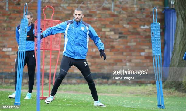 Islam Slimani during the Leicester City training session at Belvoir Drive Training Complex on April 14 2017 in Leicester United Kingdom