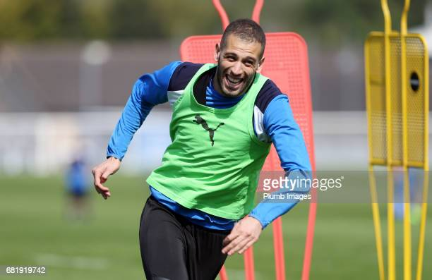 Islam Slimani during the Leicester City training session at Belvoir Drive Training Complex on May 11 2017 in Leicester United Kingdom