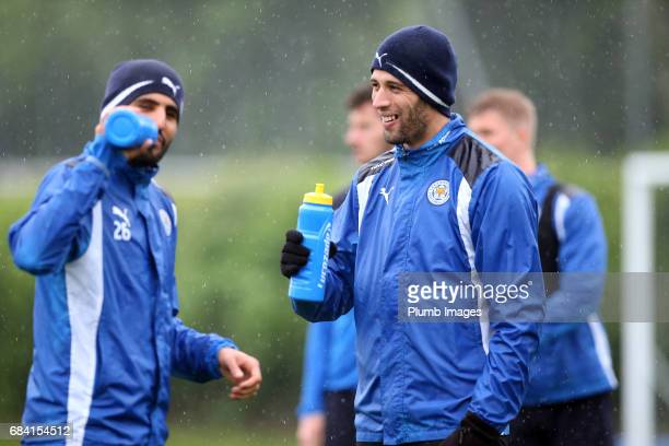 Islam Slimani during the Leicester City training session at Belvoir Drive Training Complex on May 17 2017 in Leicester United Kingdom