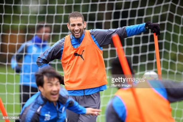 Islam Slimani during the Leicester City training session at Belvoir Drive Training Complex on August 09 2017 in Leicester United Kingdom