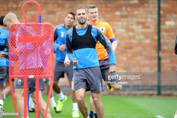 Islam Slimani during the Leicester City training session at Belvoir Drive Training Complex on August 17 2017 in Leicester United Kingdom