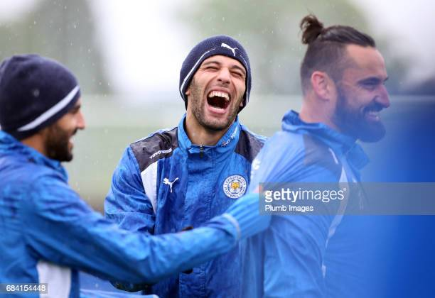 Islam Slimani is all smiles during the Leicester City training session at Belvoir Drive Training Complex on May 17 2017 in Leicester United Kingdom