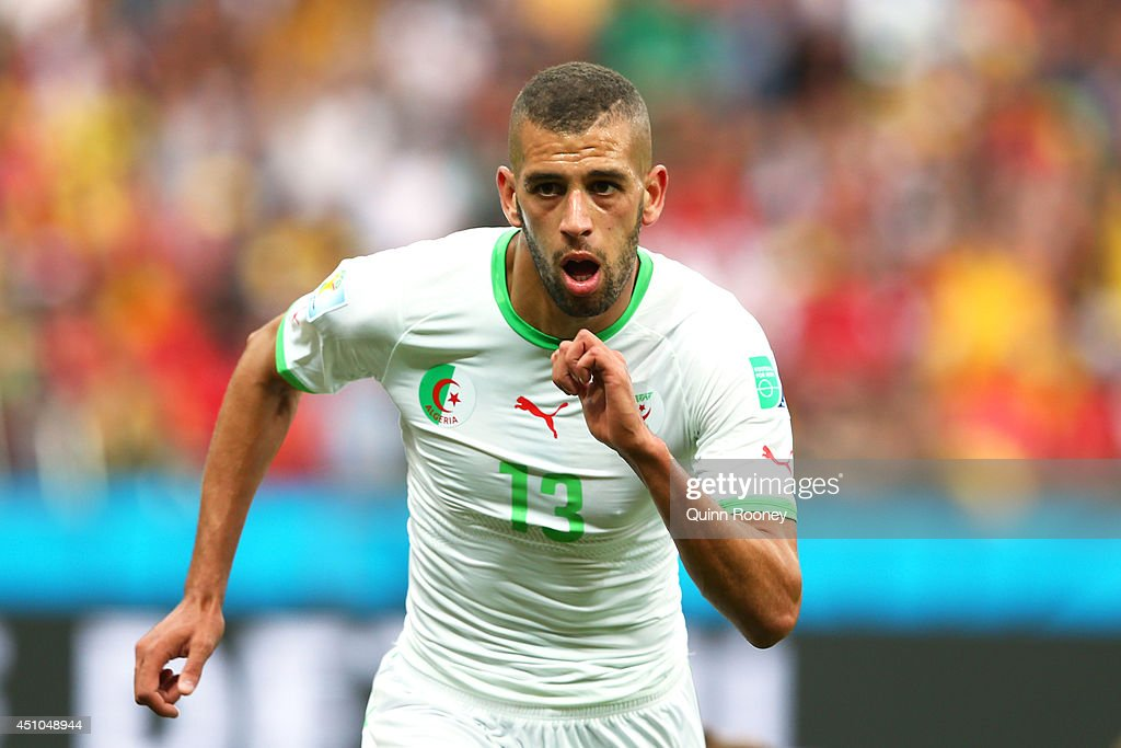 <a gi-track='captionPersonalityLinkClicked' href=/galleries/search?phrase=Islam+Slimani&family=editorial&specificpeople=9704639 ng-click='$event.stopPropagation()'>Islam Slimani</a> of Algeria celebrates scoring his team's first goal during the 2014 FIFA World Cup Brazil Group H match between South Korea and Algeria at Estadio Beira-Rio on June 22, 2014 in Porto Alegre, Brazil.