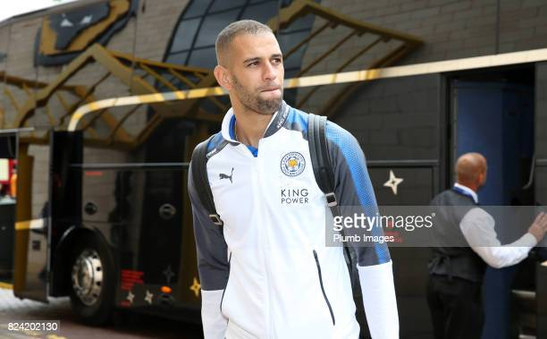 Islam Slimani of Leicester City arrives at Molineux Stadium ahead of the pre season friendly between Wolverhampton Wanderers and Leicester City on...