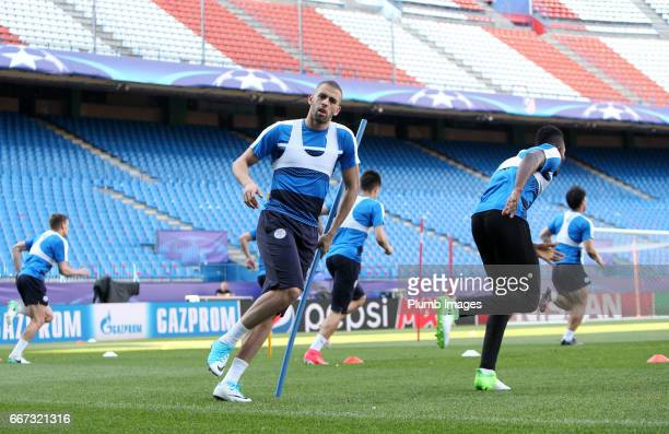 Islam Slimani of Leicester City at Vicente Calderon Stadium ahead of the Champions League quarter final first leg on April 11 2017 in Madrid Spain