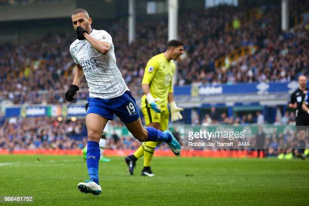 Islam Slimani of Leicester City celebrates after scoring a goal to make it 11 during the Premier League match between Everton and Leicester City at...