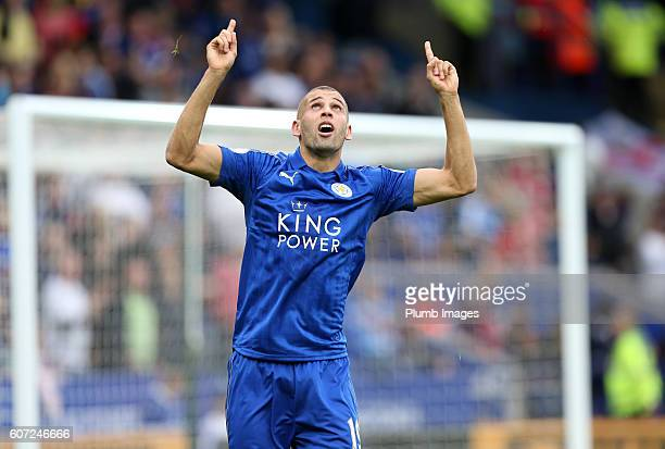 Islam Slimani of Leicester City celebrates after scoring to make it 20 during the Premier League match between Leicester City and Burnley at the King...