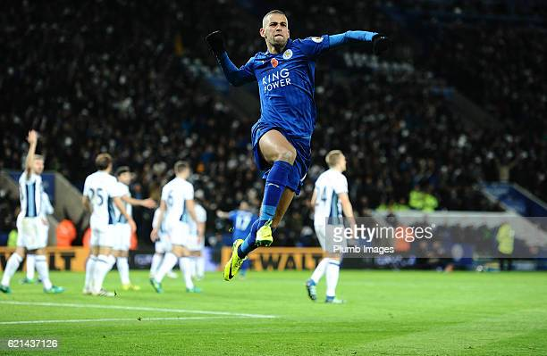Islam Slimani of Leicester City celebrates after scoring to make it 11 during the Barclays Premier League match between Leicester City and West...