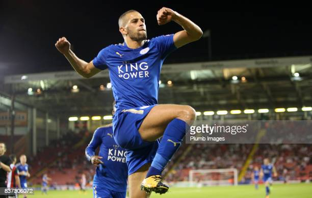 Islam Slimani of Leicester City celebrates after scoring to make it 02 during the Carabao Cup Second Round tie between Sheffield United and Leicester...