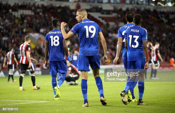 Islam Slimani of Leicester City celebrates after scoring to make it 03 during the Carabao Cup Second Round tie between Sheffield United and Leicester...