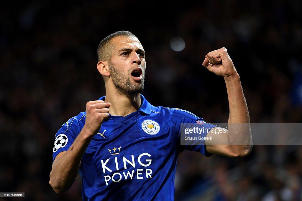 Islam Slimani de Leicester City célèbre comme il marque son premier but lors du match d'UEFA Champions League Groupe G entre Leicester City FC et ...