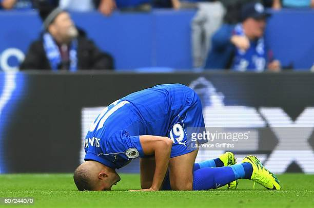 Islam Slimani of Leicester City celebrates scoring his sides second goal during the Premier League match between Leicester City and Burnley at The...