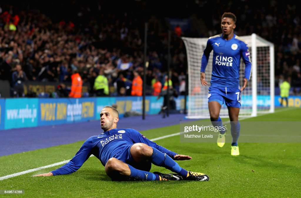 Islam Slimani of Leicester City celebrates scoring his sides second goal during the Carabao Cup Third Round match between Leicester City and Liverpool at The King Power Stadium on September 19, 2017 in Leicester, England.