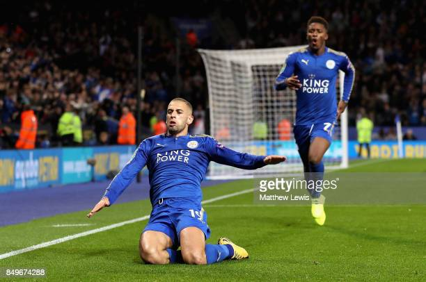 Islam Slimani of Leicester City celebrates scoring his sides second goal during the Carabao Cup Third Round match between Leicester City and...