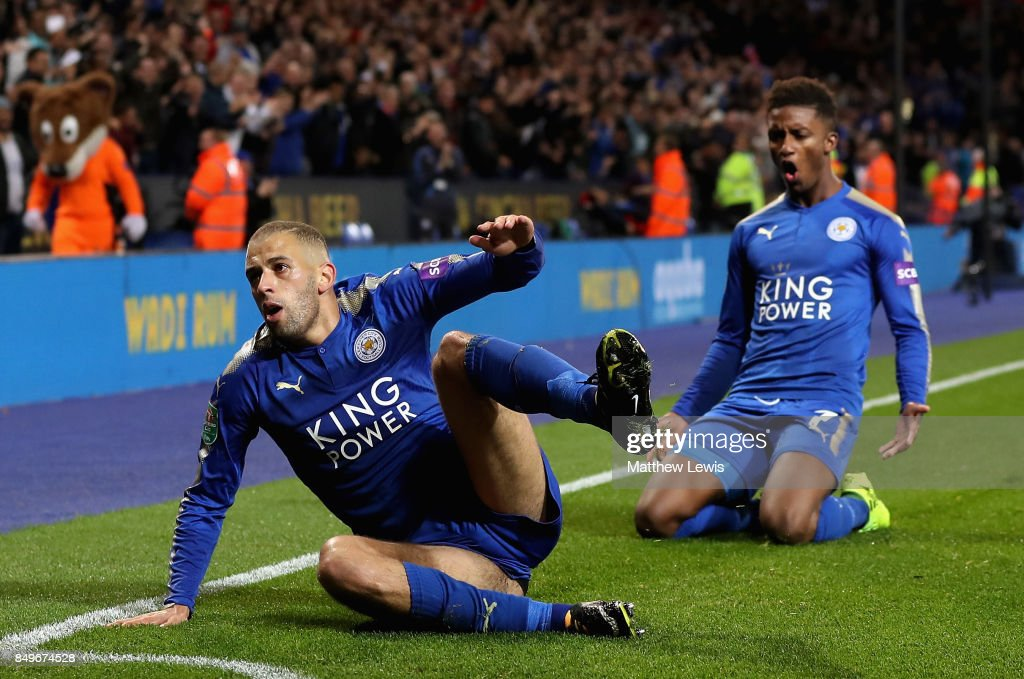 Islam Slimani of Leicester City celebrates scoring his sides second goal with Demarai Gray of Leicester City during the Carabao Cup Third Round match between Leicester City and Liverpool at The King Power Stadium on September 19, 2017 in Leicester, England.