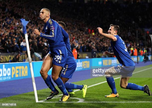 Islam Slimani of Leicester City celebrates scoring his sides second goal with teammates during the Carabao Cup Third Round match between Leicester...