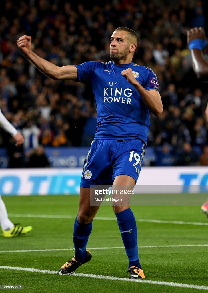 Islam Slimani of Leicester City celebrates scoring his sides second goal during the Caraboa Cup Fourth Round match between Leicester City and Leeds United at The King Power Stadium on October 24, 2017 in Leicester, England.