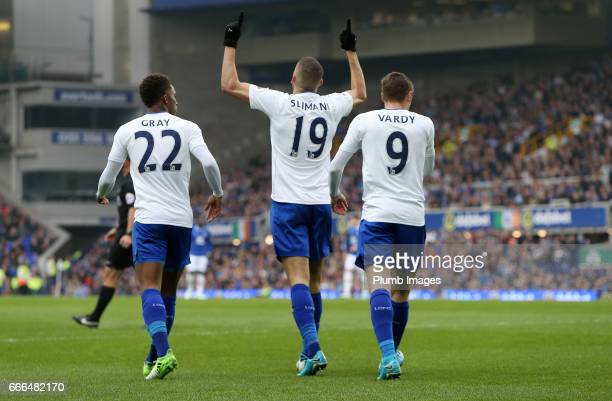 Islam Slimani of Leicester City celebrates with Demarai Gray and Jamie Vardy of Leicester City after scoring to make it 11 during the Premier League...