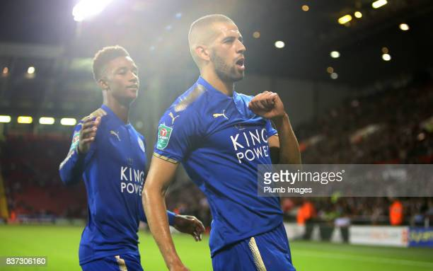 Islam Slimani of Leicester City celebrates with Demarai Gray of Leicester City after scoring to make it 02 during the Carabao Cup Second Round tie...
