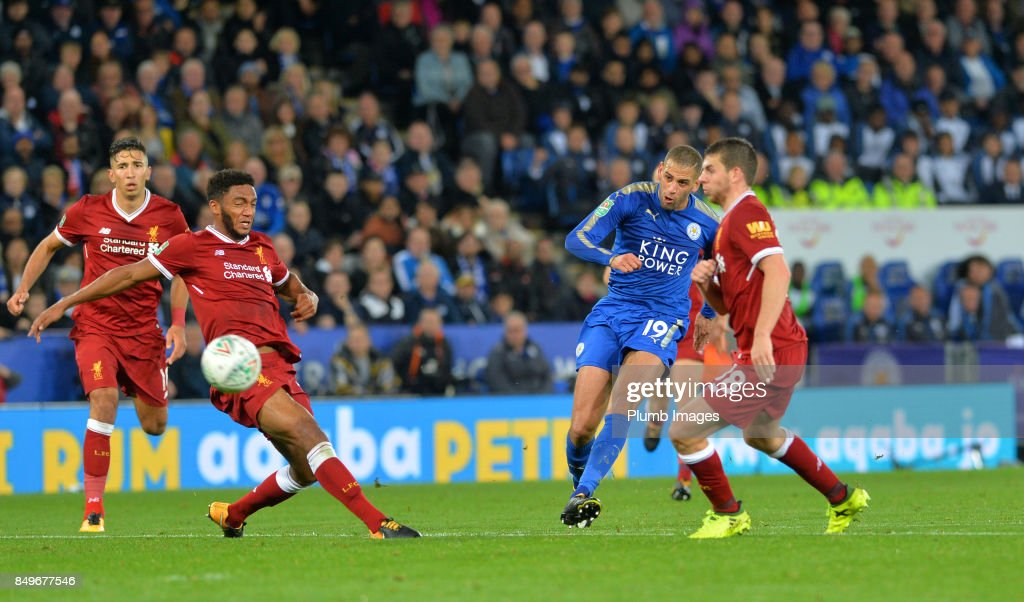 Islam Slimani of Leicester City curls the ball into the back of the net to make it 2-0 during the Carabao Cup third round match between Leicester City and Liverpool at King Power Stadium on September 19 , 2017 in Leicester, United Kingdom.