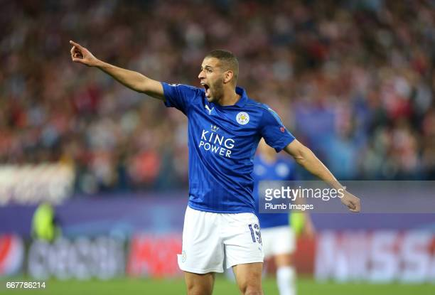 Islam Slimani of Leicester City during the Champions League quarter final first leg between Club Atletico de Madrid and Leicester City on April 12...