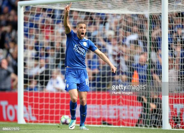 Islam Slimani of Leicester City during the Premier League match between Leicester City and Bournemouth at King Power Stadium on May 21 2017 in...