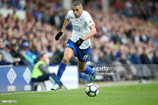 Islam Slimani of Leicester City in action during the Premier League match between Everton and Leicester City at Goodison Park on April 09 2017 in...