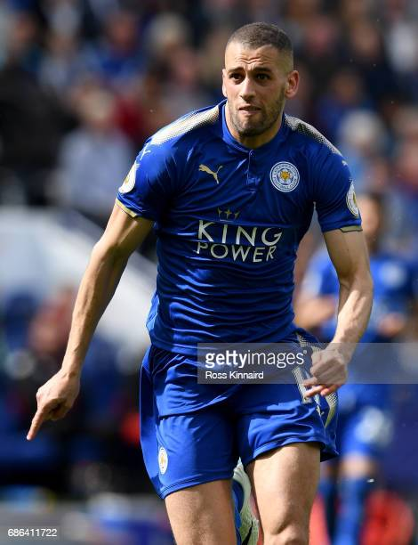 Islam Slimani of Leicester City in action during the Premier League match between Leicester City and AFC Bournemouth at The King Power Stadium on May...