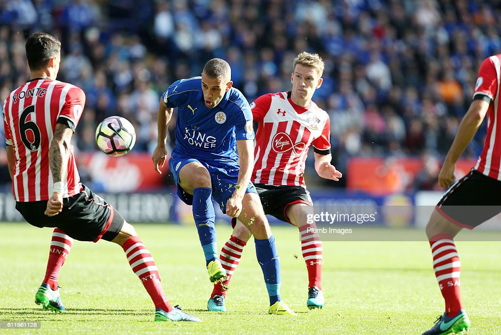 Islam Slimani of Leicester City in action with Jose Fonte of Southampton during the Barclays Premier League match between Leicester City and Southampton at the King Power Stadium on October 2nd , 2016 in Leicester, United Kingdom.
