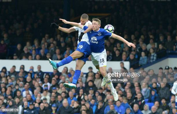 Islam Slimani of Leicester City in action with Matthew Pennington of Everton during the Premier League match between Everton and Leicester City at...