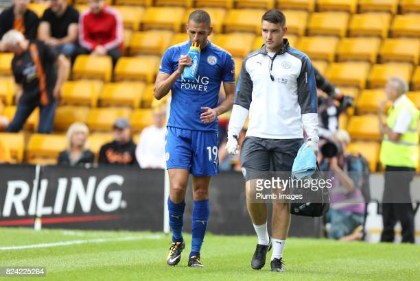 Islam Slimani of Leicester City limps off injured during the pre season friendly between Wolverhampton Wanderers and Leicester City on July 29th 2017...