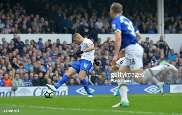 Islam Slimani of Leicester City scores to make it 11 during the Premier League match between Everton and Leicester City at Goodison Park on April 09...