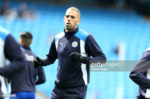 Islam Slimani of Leicester City warms up at Etihad Stadium ahead of the Premier League match between Manchester City and Leicester City at Etihad...