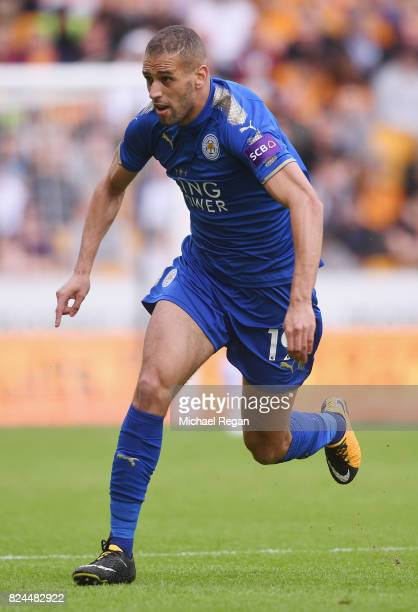 Islam Slimani of Leicester in action during the preseason friendly match between Wolverhampton Wanderers and Leicester City at Molineux on July 29...